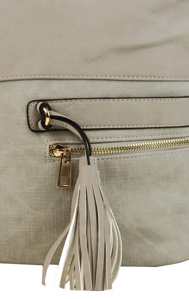 Elegantní kombinovaná dámská crossbody kabelka F1349 krémově šedá