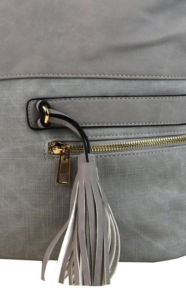 Elegantní kombinovaná dámská crossbody kabelka F1349 šedá