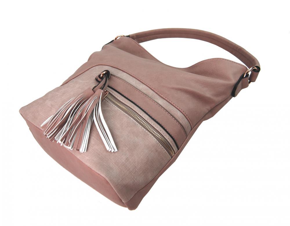 Elegantná kombinovaná dámska crossbody kabelka F1349 ružová