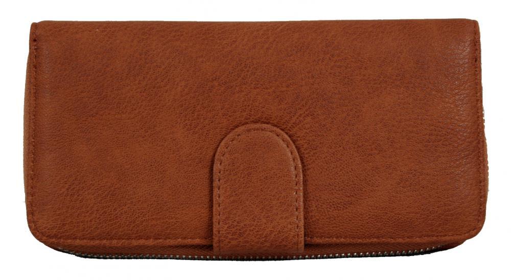 Praktická dámska zipsová peňaženka hnedá FD-004