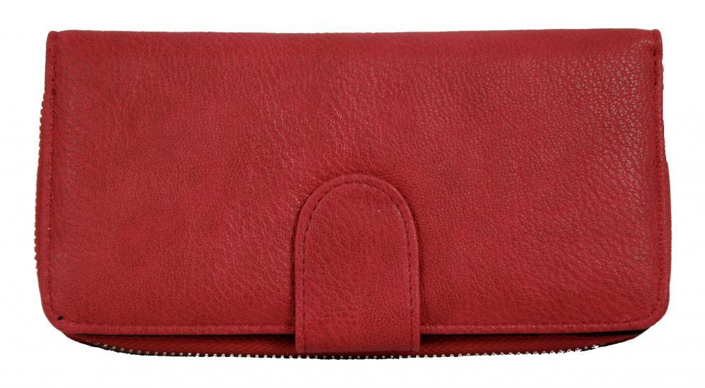 Praktická dámska zipsová peňaženka červená FD-004