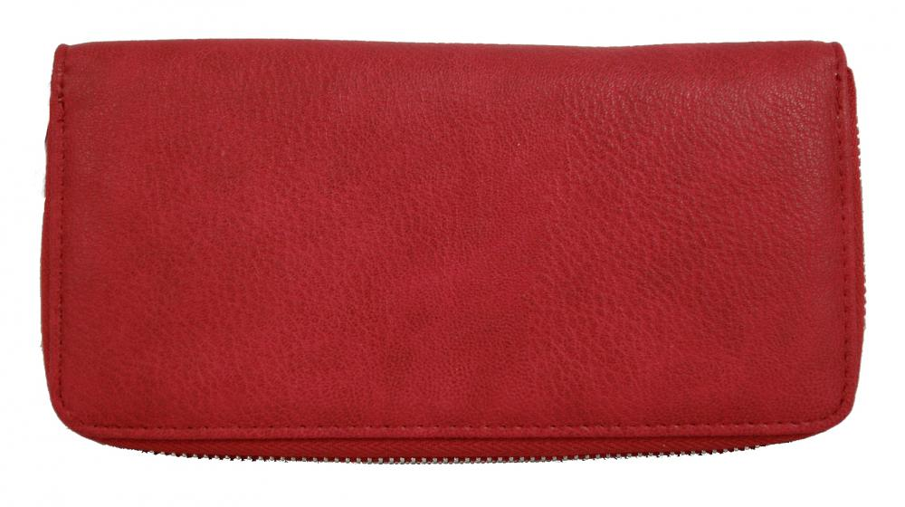Praktická dámská zipová peněženka červená FD-004