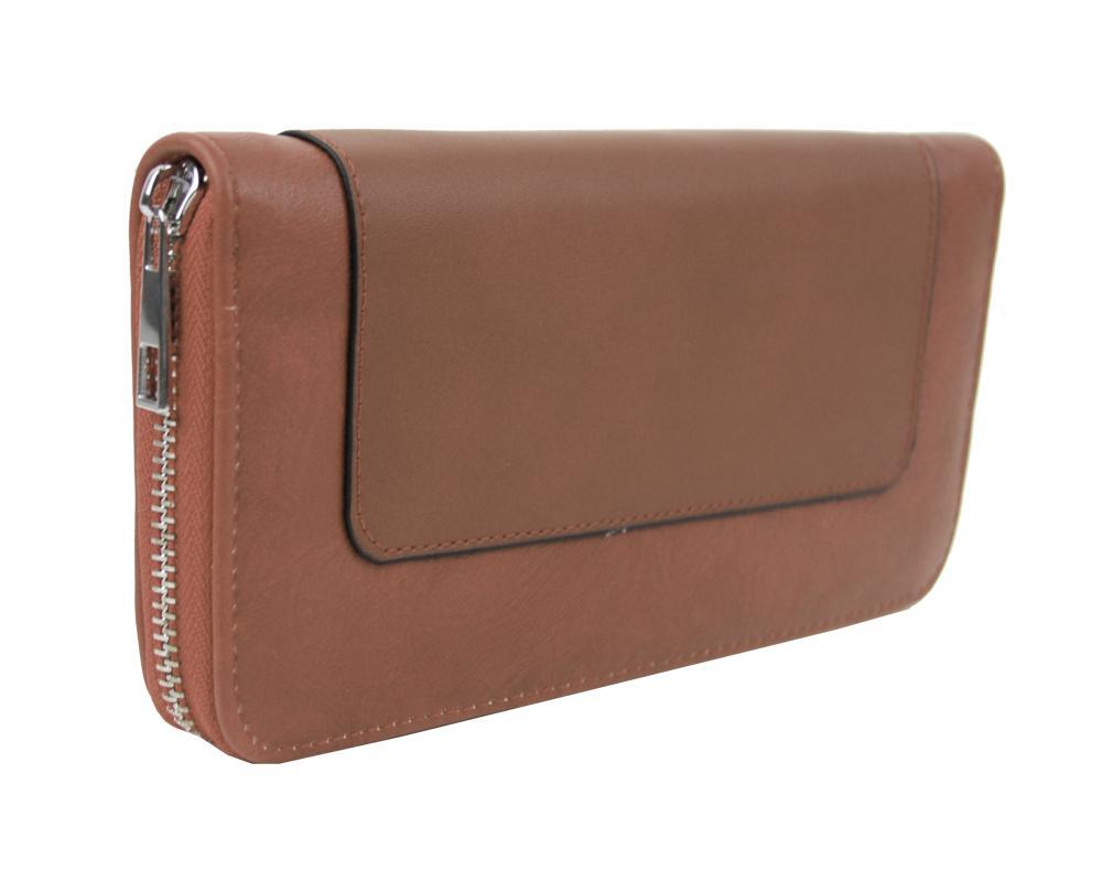 Dámská peněženka hnědá s obvodovým zipem FD-056