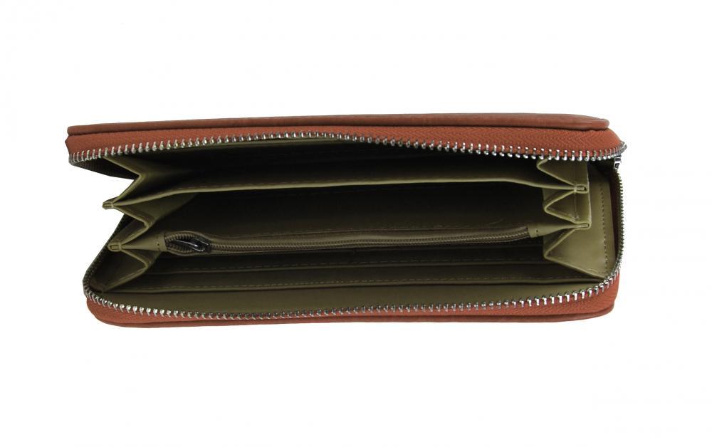 Dámska peňaženka hnedá s obvodovým zipsom FD-056