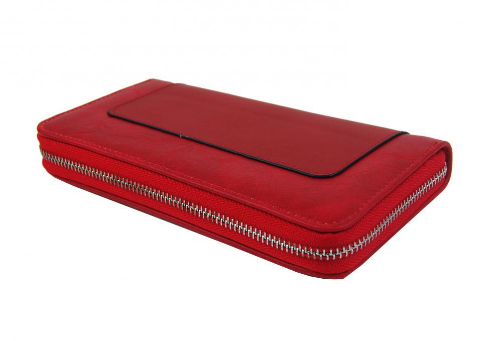 Dámska peňaženka červená s obvodovým zipsom FD-056