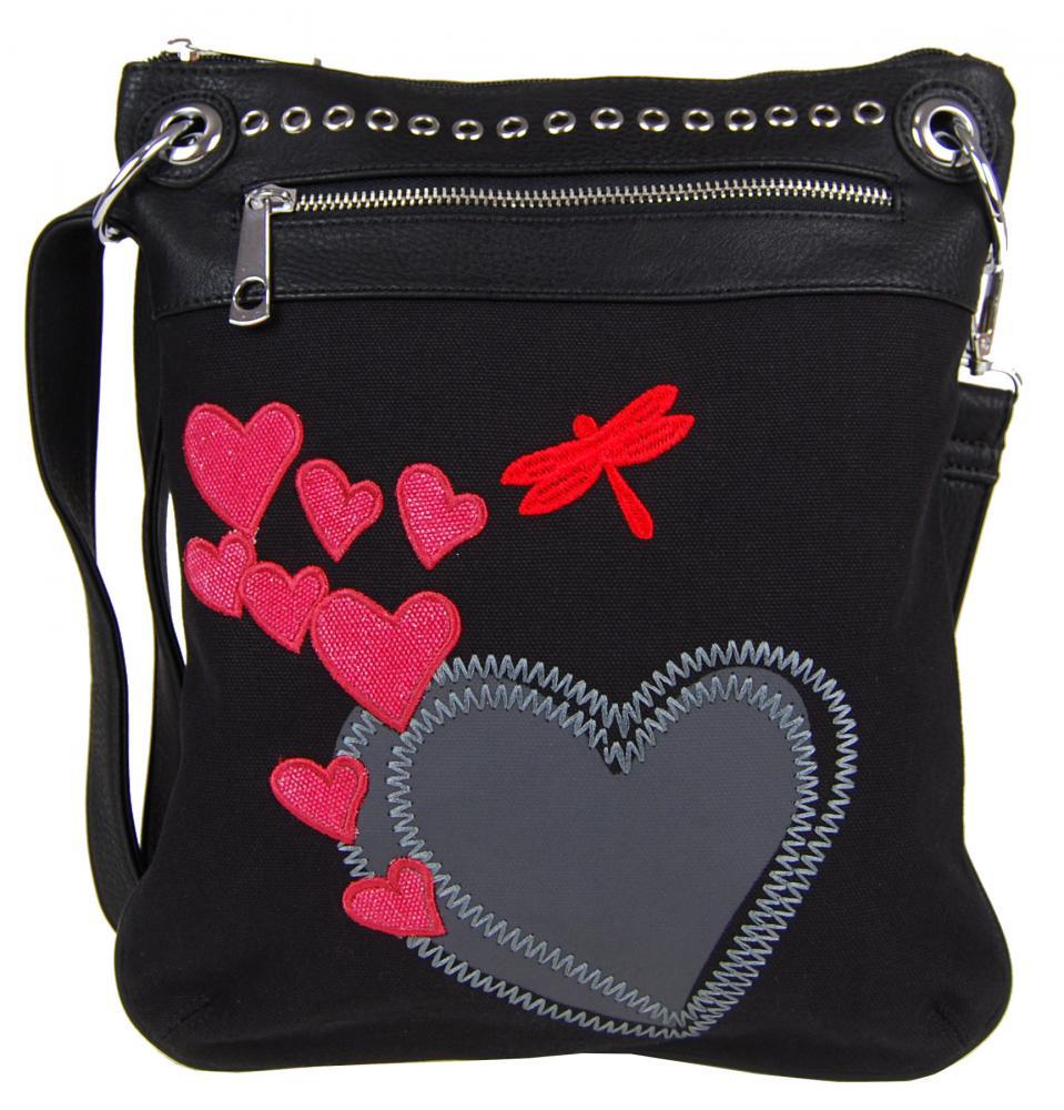 Dámska crossbody kabelka so srdiečkami G003 čierna