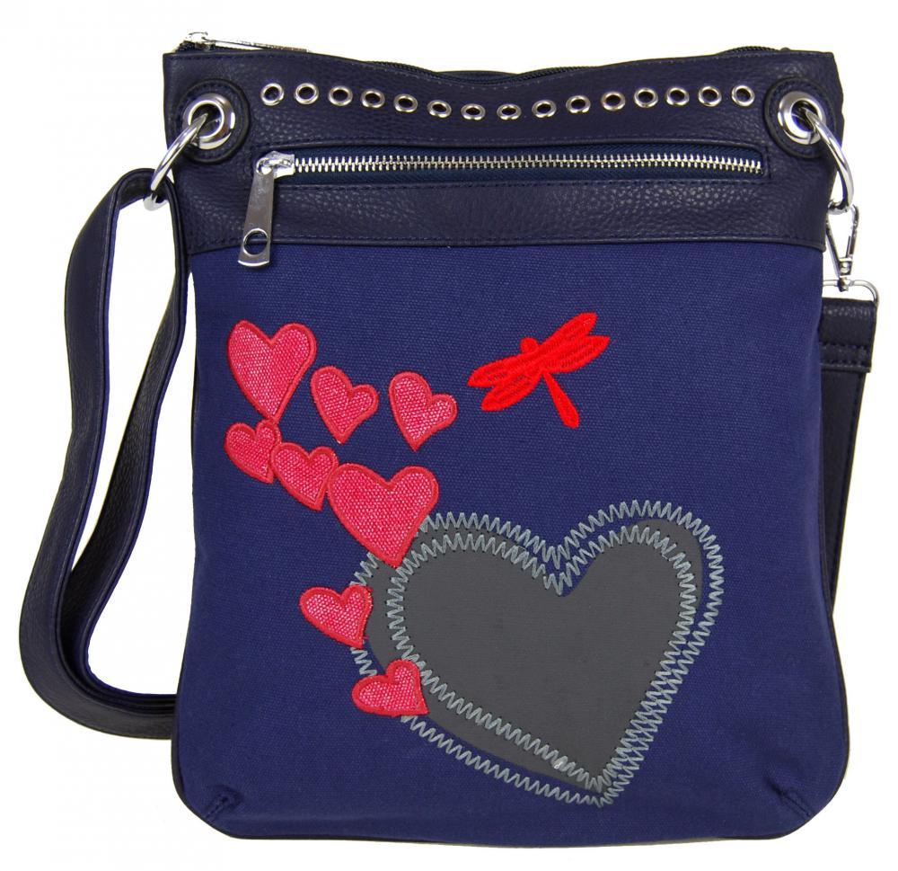 Dámska crossbody kabelka so srdiečkami G003 modrá