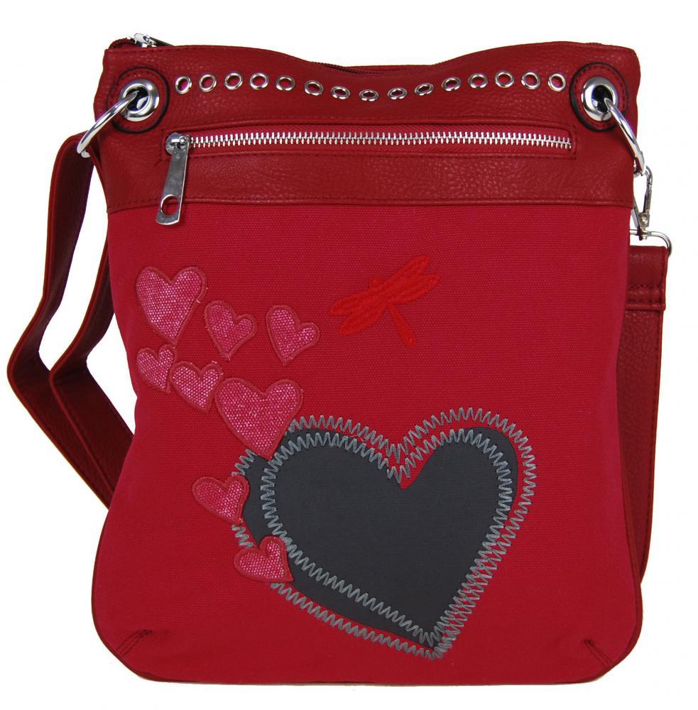 Dámska crossbody kabelka so srdiečkami G003 červená