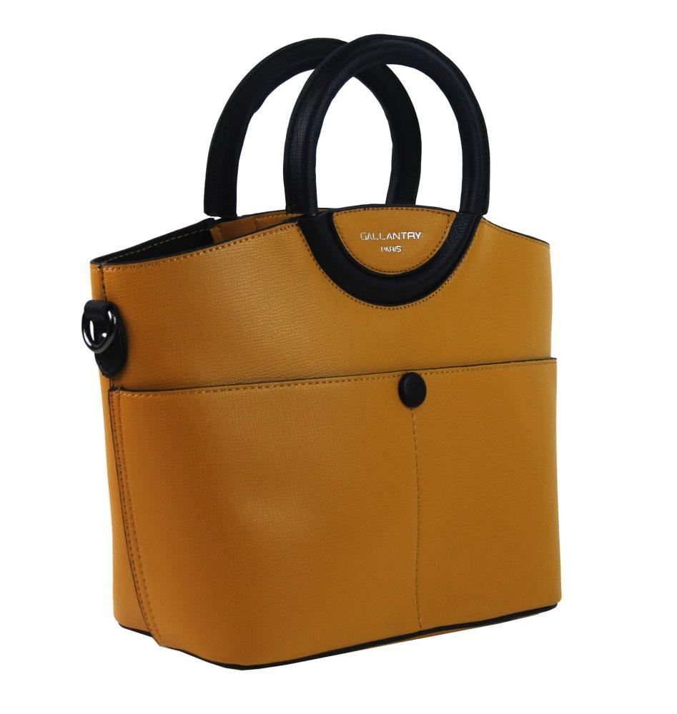 Moderní menší dámská kabelka do ruky hořčicová žlutá GALLANTRY