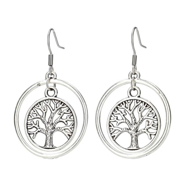 Dámské kruhové náušnice se stromem života stříbrná ocel GC48