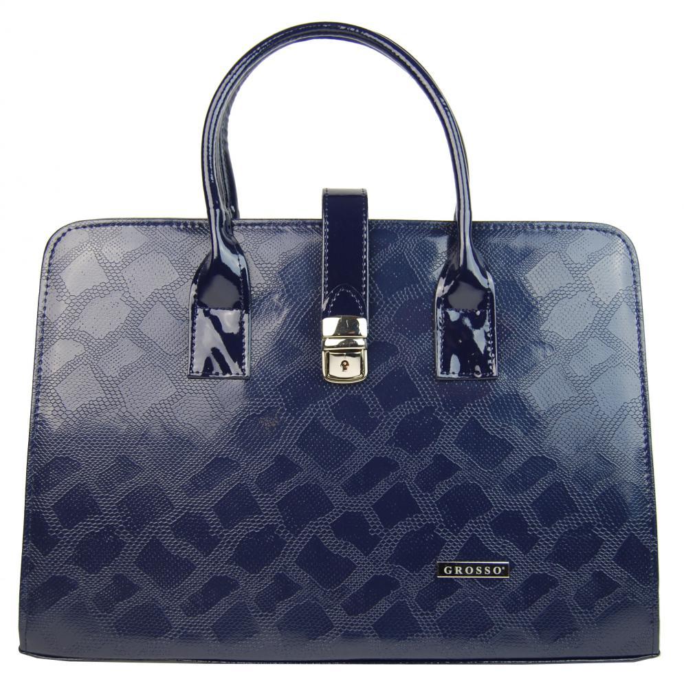 Luxusní dámská aktovka v modrém hadím laku S563 GROSSO