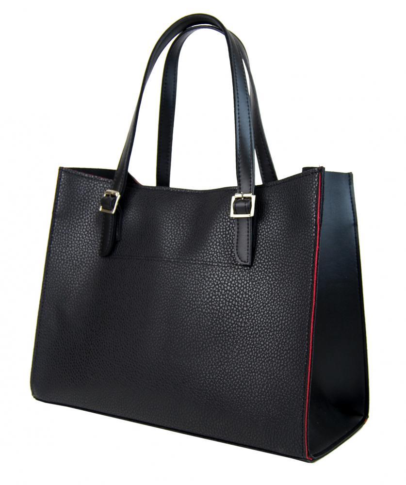 Černá velká kabelka s červeným lemem S573 GROSSO