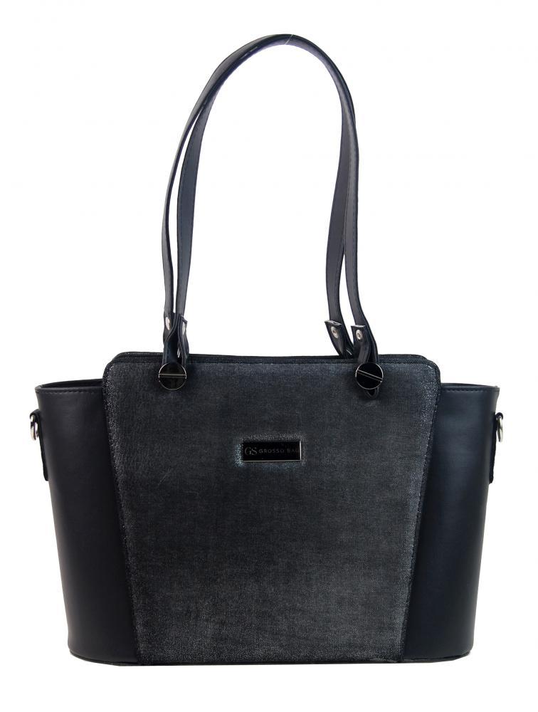 GROSSO černo-stříbrná zpevněná dámská kabelka přes rameno