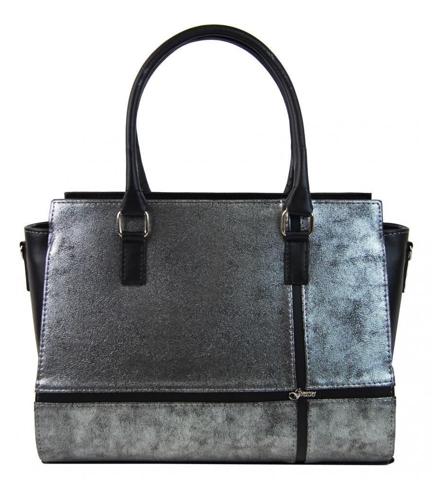 Černo-stříbrná patinovaná elegantní dámská kabelka S679 GROSSO