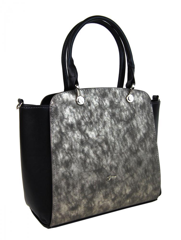 Černá elegantní kabelka se zlatou patinou S682 GROSSO