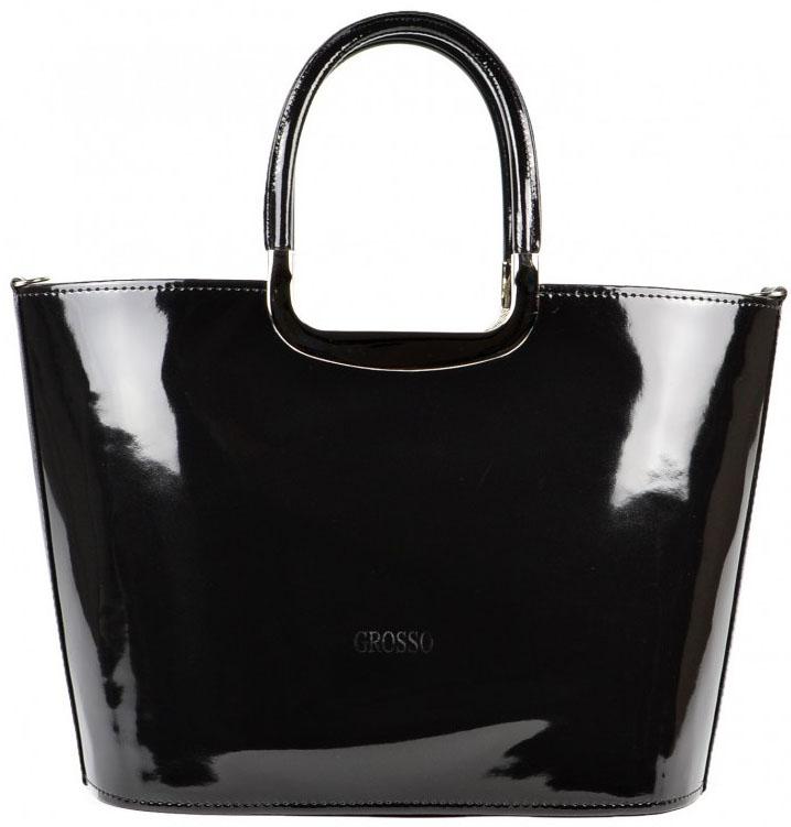 Luxusná kabelka čierna lakovaná S7 strieborné kovanie GROSSO