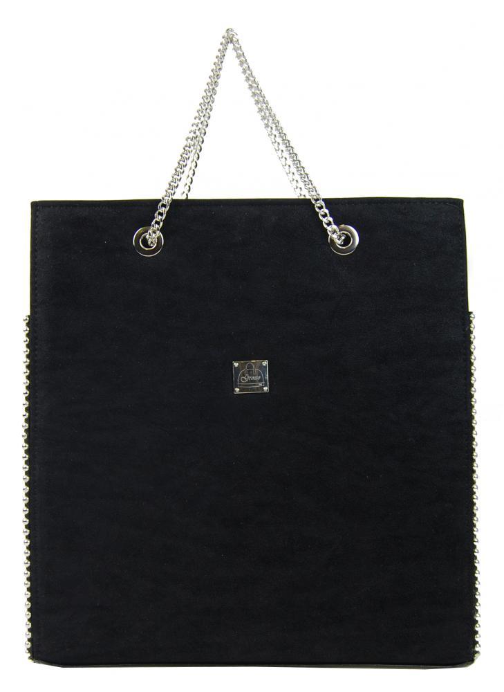 Černá luxusní dámská zdobená kabelka S709 GROSSO