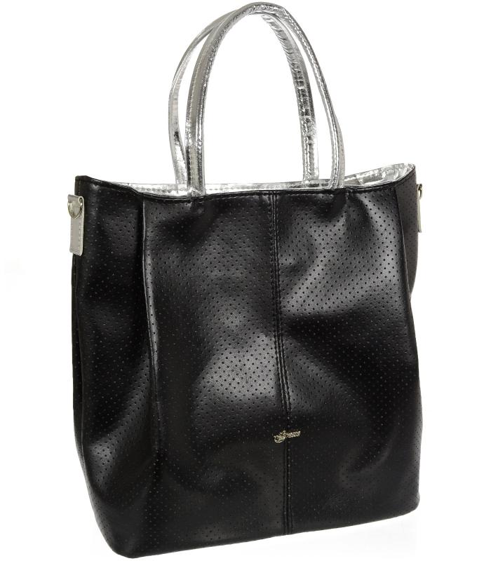 GROSSO Shopper dámská kabelka černo-stříbrná S737