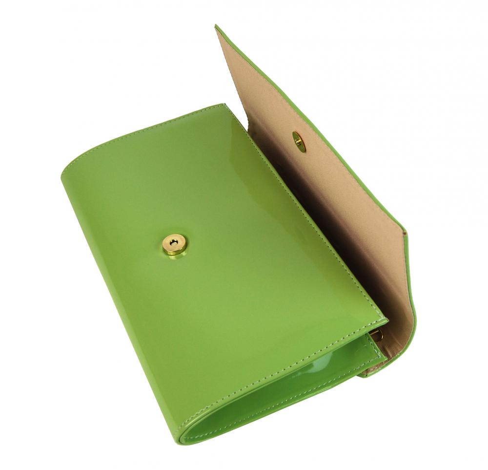 Luxusní dámské psaníčko SP100 jablíčkově zelený lak GROSSO