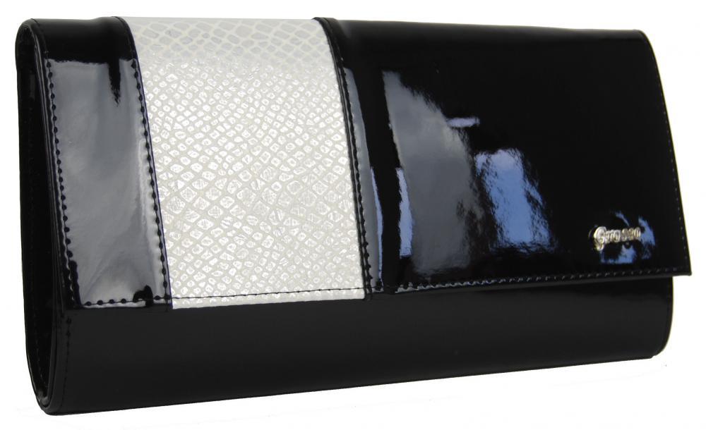 Velká černá listová kabelka s béžovým hadím páskem GROSSO SP115