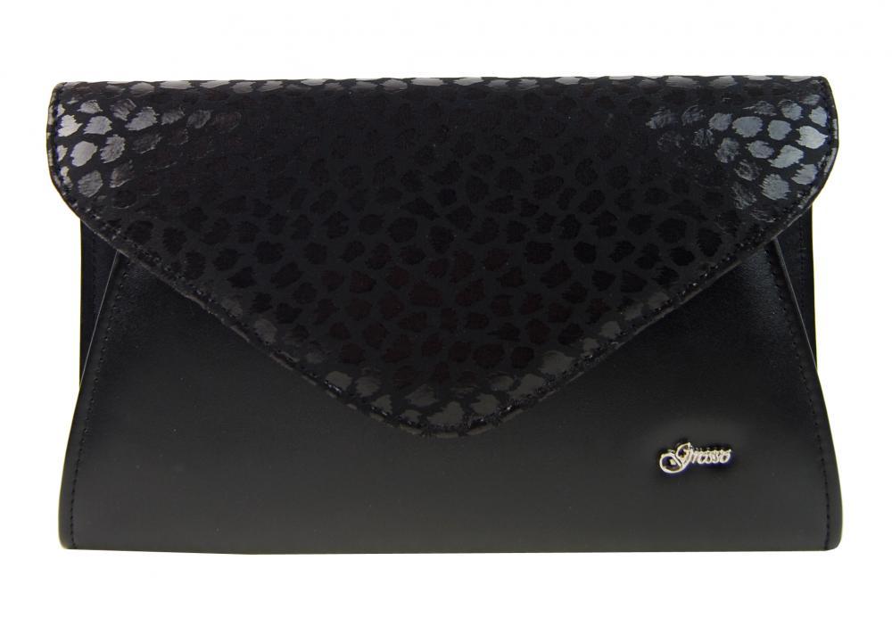 Luxusní černá matné dámské psaníčko SP126 GROSSO