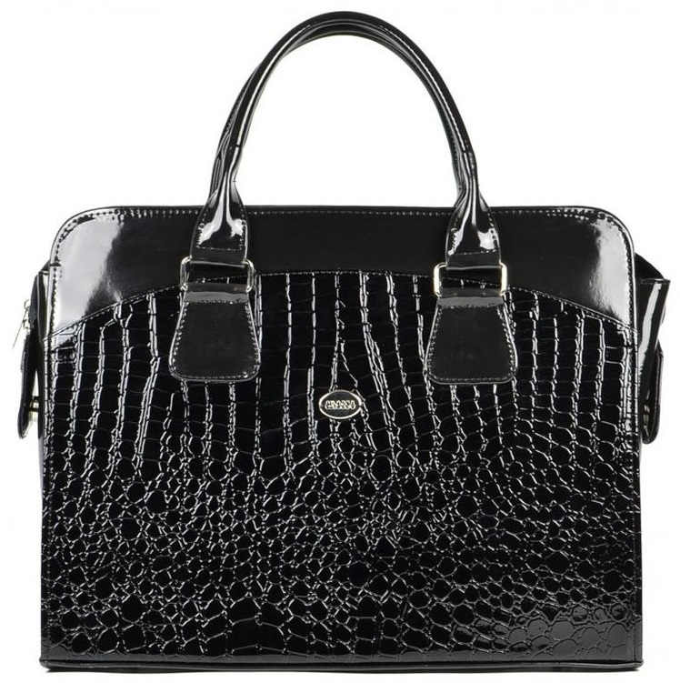 GROSSO Dámská černá lakovaná taška na notebook do 15.6 palce