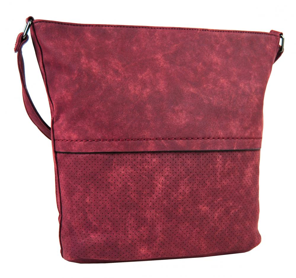 Dámska brúsená crossbody kabelka 16010 červená