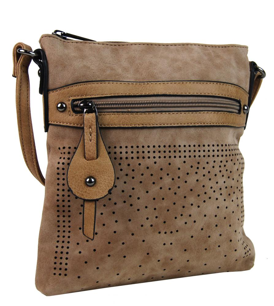 Elegantná malá dámska crossbody kabelka 16081 prírodná hnedá