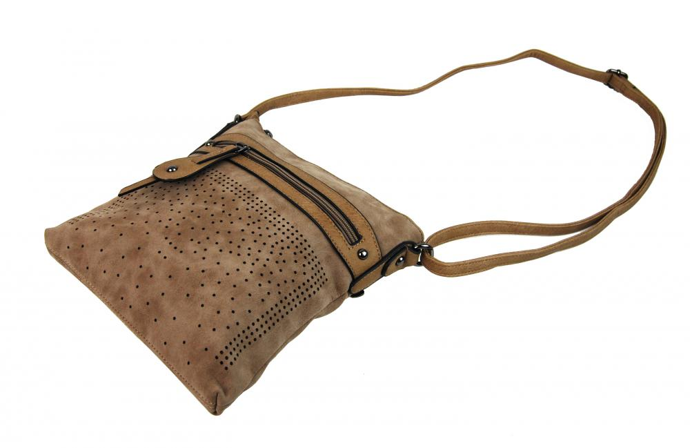 Elegantní malá dámská crossbody kabelka 16081 přírodní hnědá
