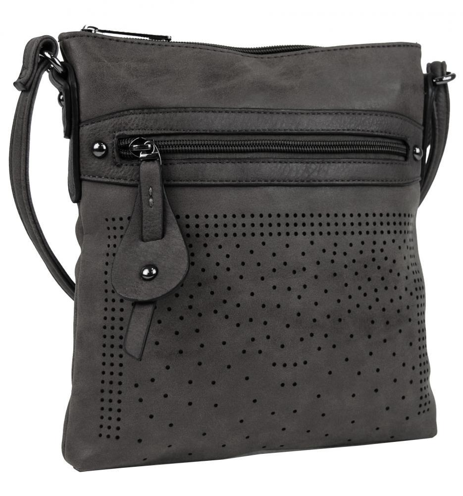 Elegantní malá dámská crossbody kabelka 16081 tmavě šedá