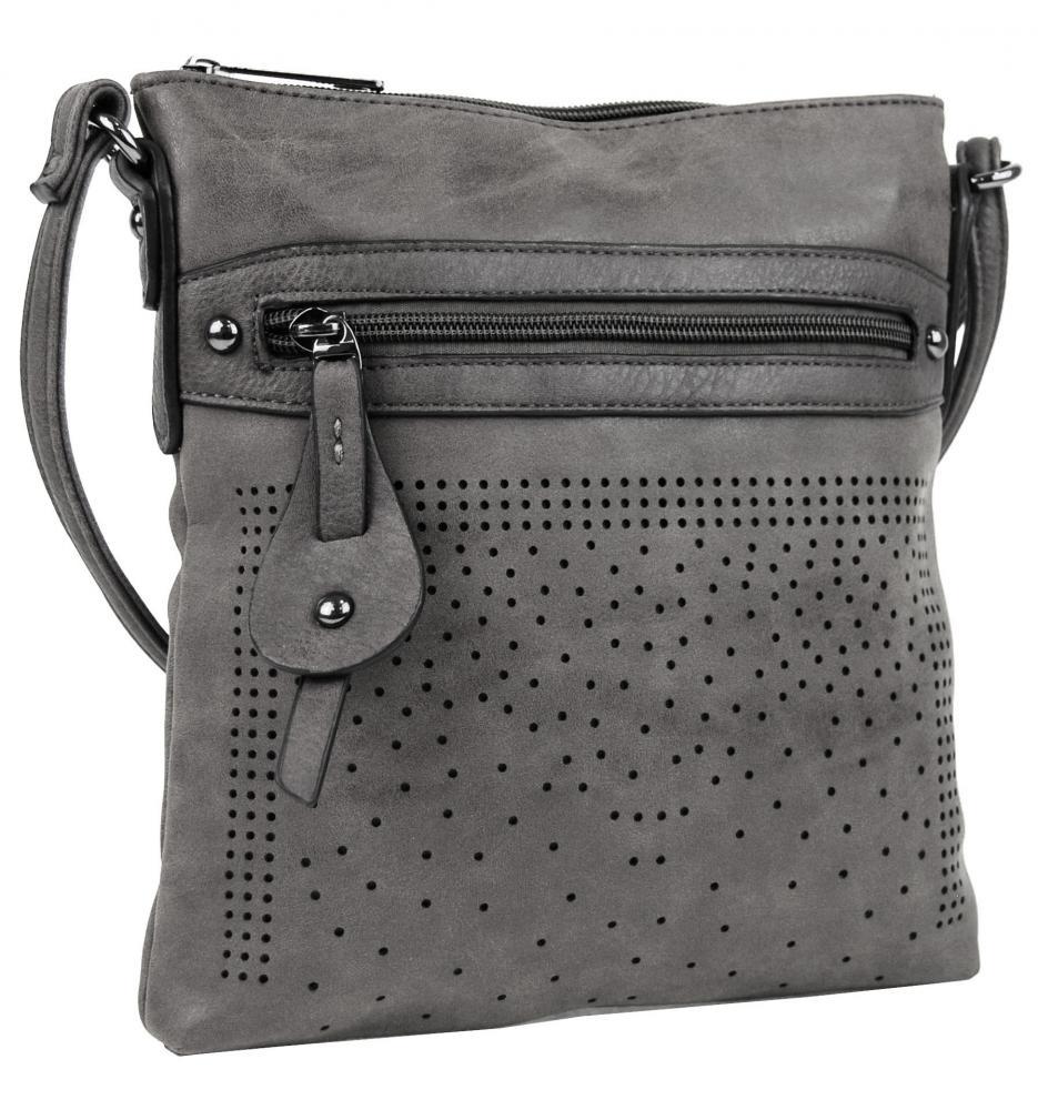 Elegantná malá dámska crossbody kabelka 16081 sivá
