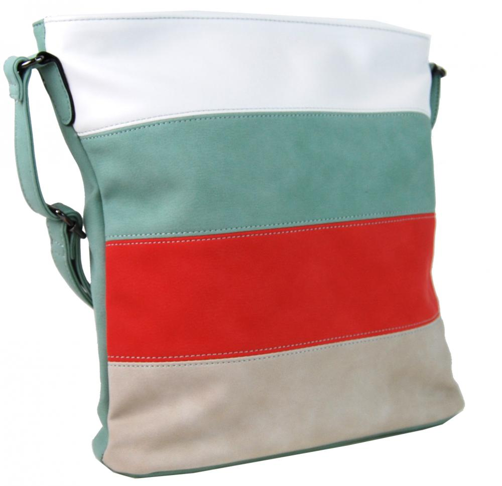 Crossbody kabelka s pruhmi H16166 mentolová