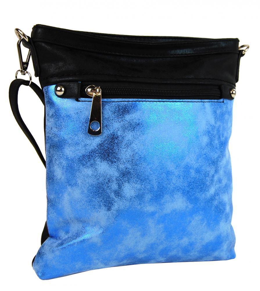 Elegantná malá dámska crossbody kabelka 16174 modro-čierná
