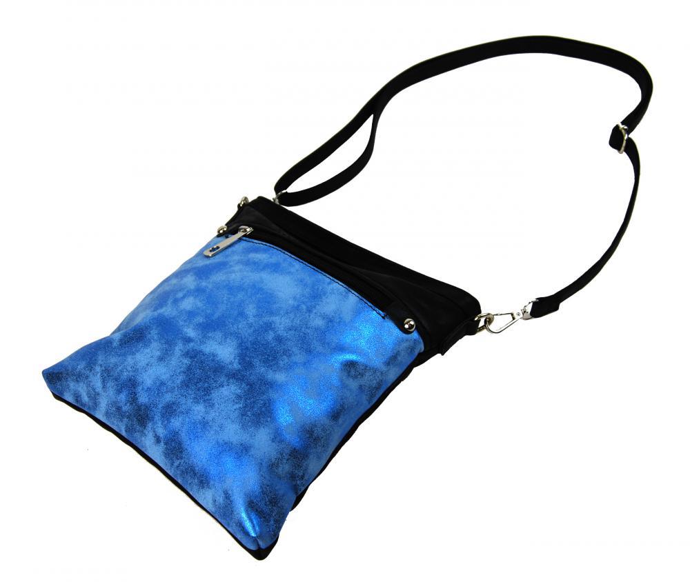 Elegantní malá dámská crossbody kabelka 16174 modro-černá