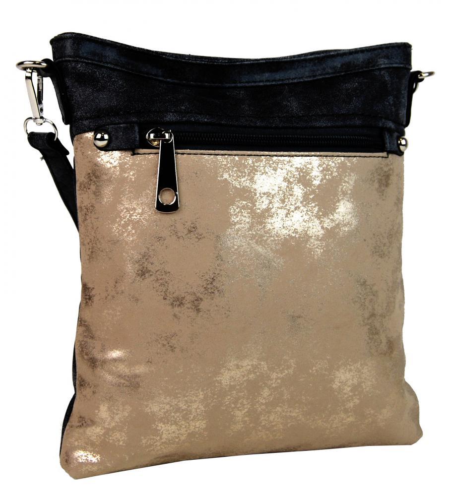 Elegantná malá dámska crossbody kabelka 16174 čierno-zlatá