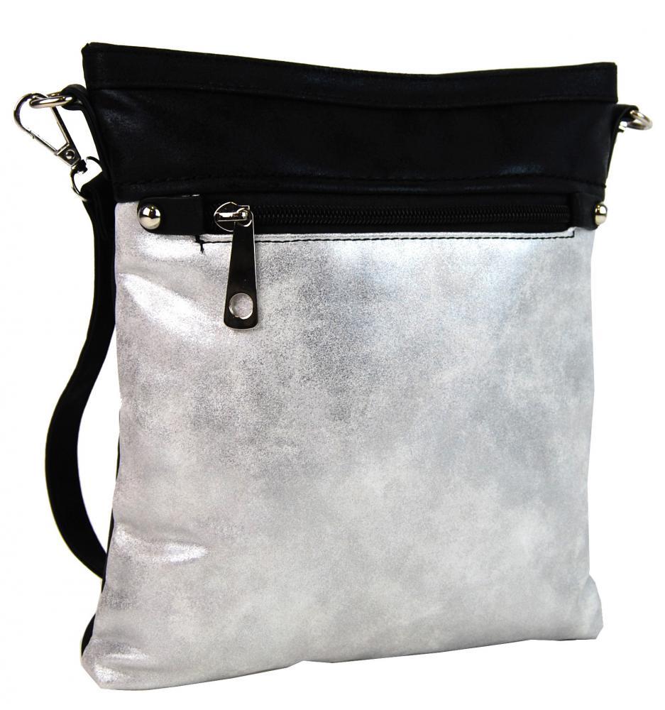 Elegantní malá dámská crossbody kabelka 16174 černo-stříbrná