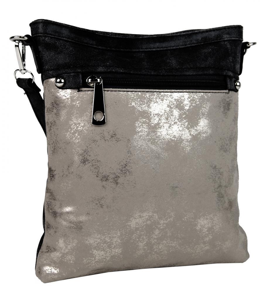 Elegantná malá dámska crossbody kabelka 16174 čierna s šedostriebornou patinou