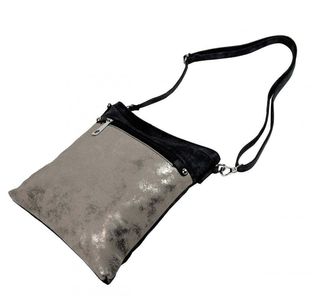 Elegantní malá dámská crossbody kabelka 16174 černá s šedostříbrnou patinou