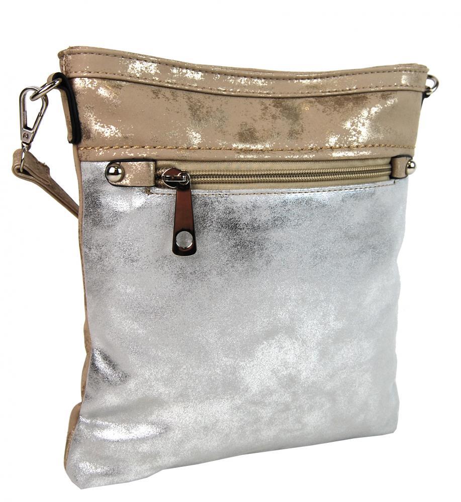 Elegantní malá dámská crossbody kabelka 16174 zlato-stříbrná