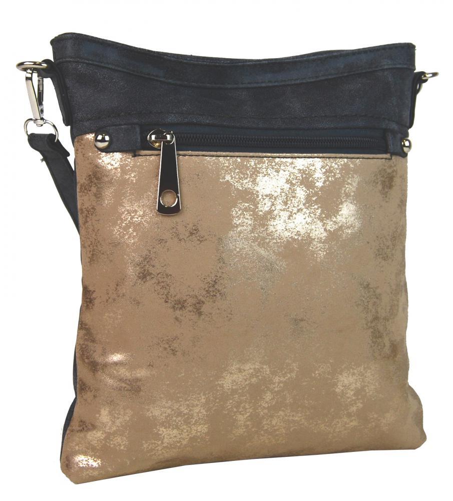 Elegantná malá dámska crossbody kabelka 16174 šedo-zlatá