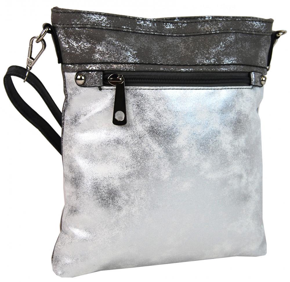 Elegantná malá dámska crossbody kabelka 16174 sivo-strieborná