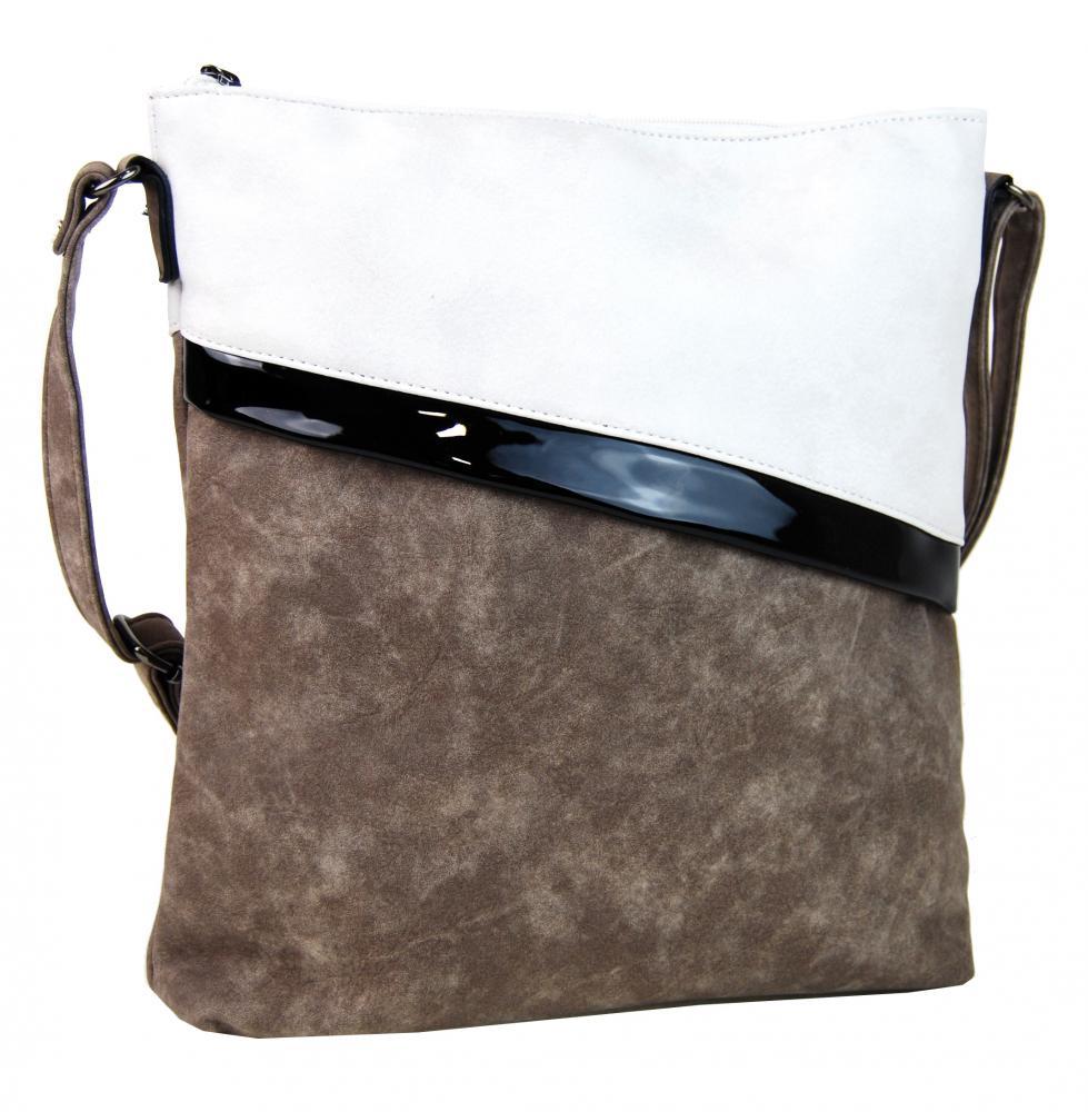 Šedohnedá dámska crossbody kabelka so šikmými zipsami H16183