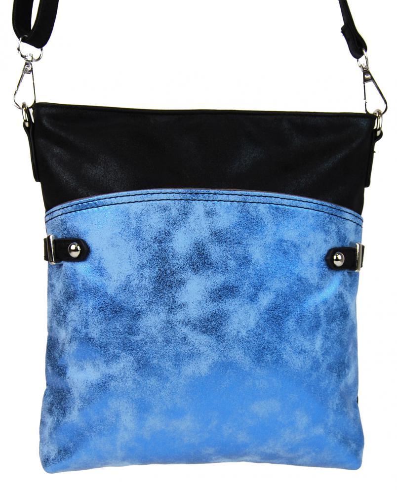 Elegantná malá dámska crossbody kabelka 16216 modro-černá
