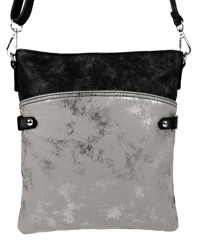 Elegantná malá dámska crossbody kabelka 16216 čierna s šedostriebornou patinou