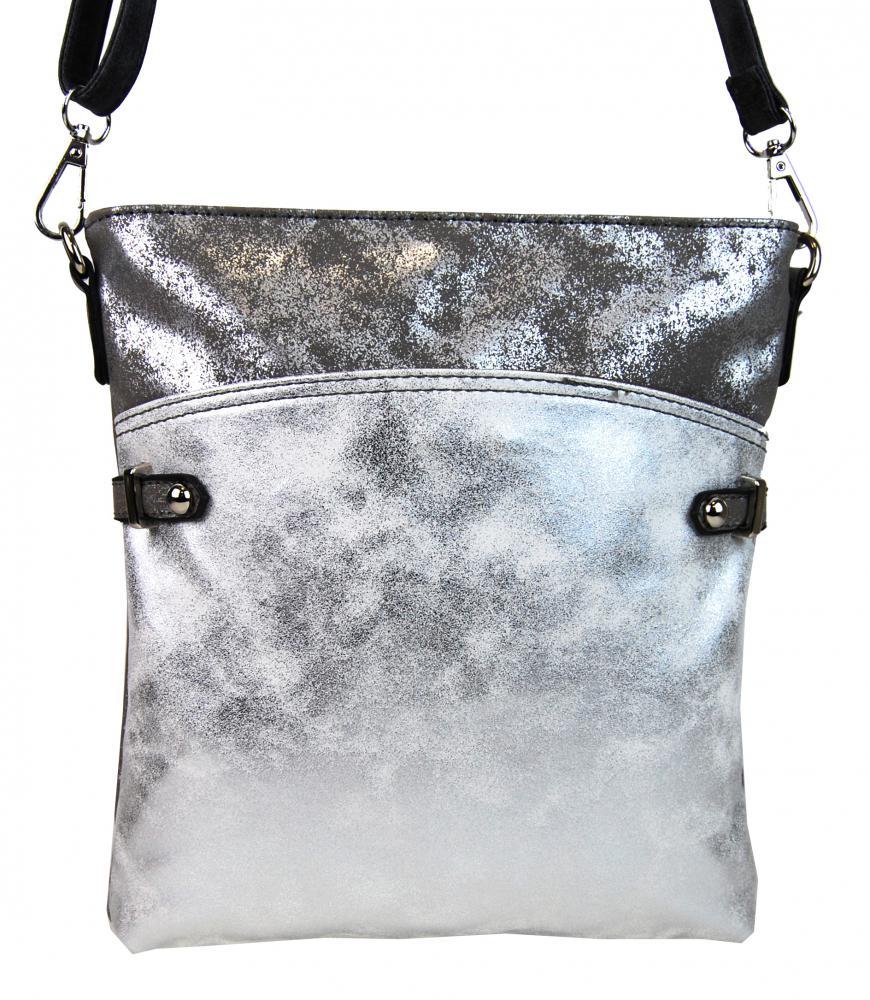 Elegantní malá dámská crossbody kabelka 16216 šedo-stříbrná