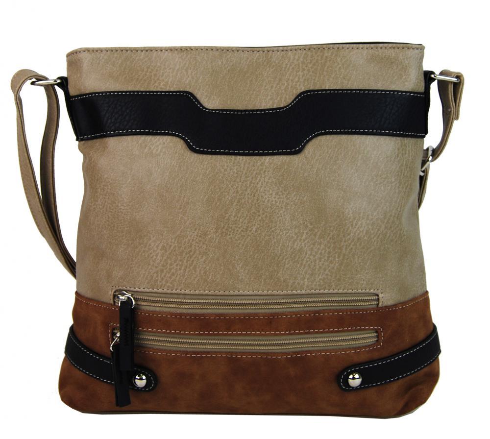 Crossbody dámska kabelka H1727 béžovo-hnedá