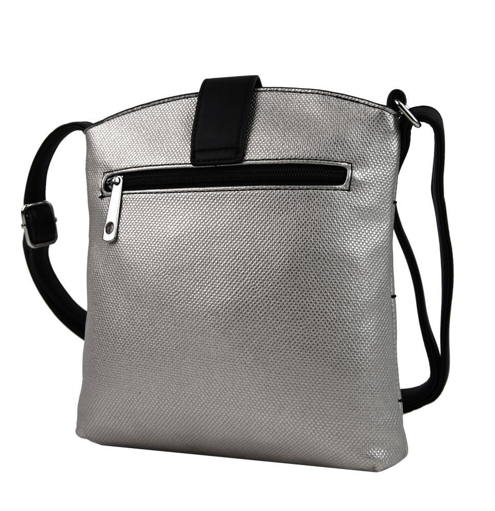 Malá dámska crossbody kabelka H17377 strieborná s čiernym pásikom