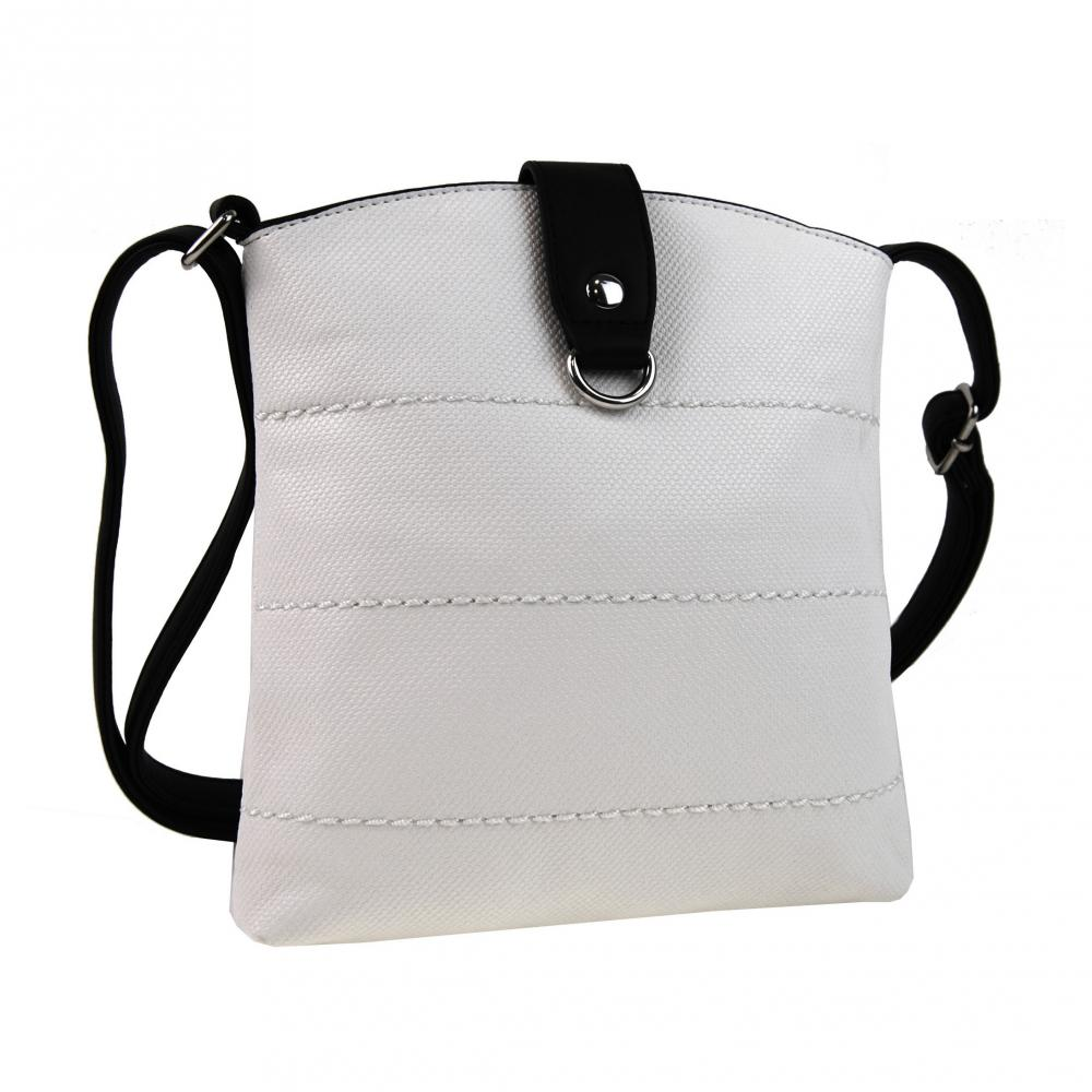 Malá dámská crossbody kabelka H17377 bílá s černým páskem