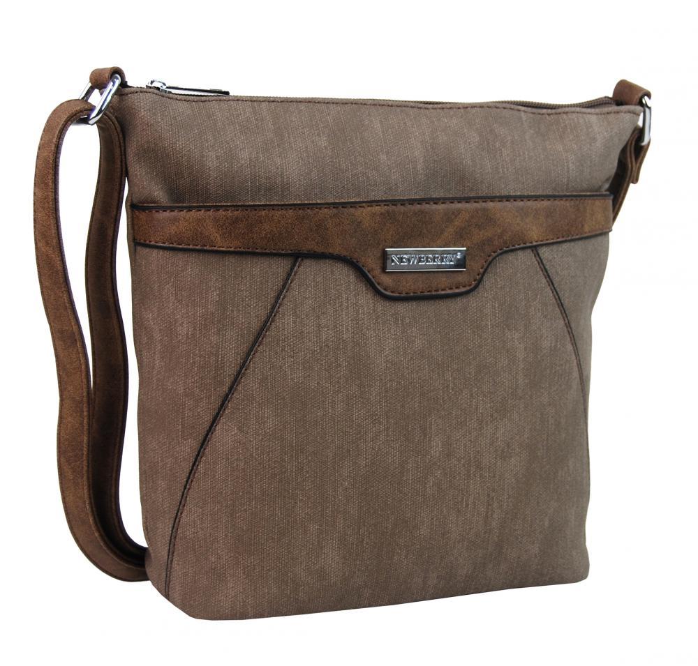 Malá crossbody kabelka s čelnou zipsovou priehradkou HB022 piesková hnedá