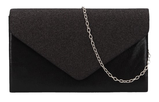 Čierna dámska listová kabelka na retiazke HD827